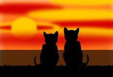 Two Cats by the Sea under a Sunset royalty free illustration