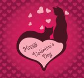 Two cats on a seamless pink background with hearts. Valentines Day. Vector vector illustration