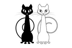 Two cats sitting near each other. stock illustration