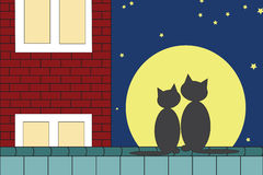 Two cats. Sitting on the roof on the background of the moon Royalty Free Stock Images