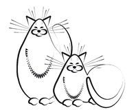 Two cats. Sketch. The stylized image of two fat cats happy Royalty Free Stock Photos