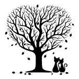 Two cats under the tree. Royalty Free Stock Image