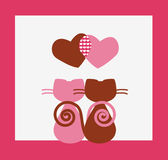 Two cats Valentines card Royalty Free Stock Photos