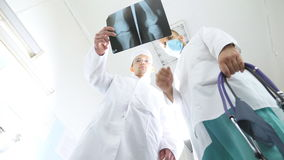 Two caucasian doctors view mri picture and discussing about it. Medical workers in hospital examine x-ray prints. Male. Medics consult with each other while stock footage