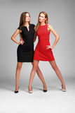 Two caucasian  fashion models posing in stusio on grey backgroun Royalty Free Stock Images