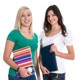 Two caucasian isolated woman like students. Royalty Free Stock Photos