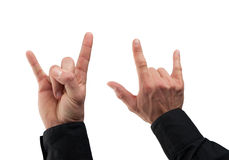 Two caucasian male hand making a punk rock sign Royalty Free Stock Image