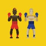 Two caucasian men exercising thai boxing. Flat character design. vector illustration Royalty Free Stock Photos