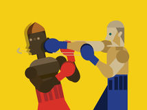 Two caucasian men exercising thai boxing. flat character design. Royalty Free Stock Images
