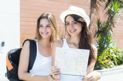 Two caucasian tourists in the city Stock Image
