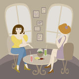 Two caucasian woman talking in cafe. Vector illustration of two caucasian woman talking in cafe. No mesh, gradient, transparency used. Objects grouped and named Stock Image
