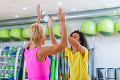 Two Caucasian women giving high five after training in gym Royalty Free Stock Photography