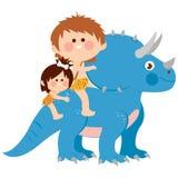 Children riding a triceratops prehistoric animal royalty free illustration