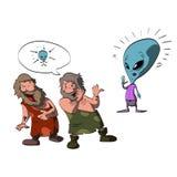 Two cavemen making fun of an alien vector illustration