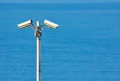 Two CCTV surveillance cameras Stock Photos