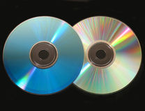 Two cd on black Stock Photography