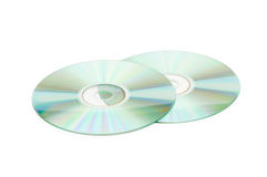 Two cd discs isolated. On the whte Stock Images