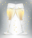 Two celebration champagne glasses Stock Images