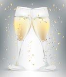 Two celebration champagne glasses vector illustration
