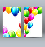 Two Celebration Greet Cards with Inflatable Balloons Royalty Free Stock Photos