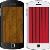 Two cell phone black and white. Curtain and wooden Royalty Free Stock Photography