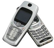 Two cell phones royalty free stock photos