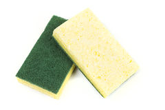 Two cellulose sponges. Isolated on white background royalty free stock image