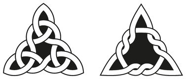 Two Celtic Triangle Knots. Celtic knots used for decoration or tattoos. Two varieties of endless basket weave knots. These knots are most known for their Royalty Free Stock Image