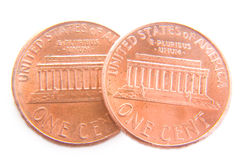 Two Cents Isolated. Macro shot of two pennies showing the tails side Stock Image
