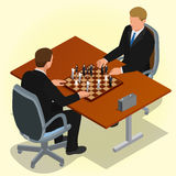 Two CEO Playing Chess Using Businessman. Business Concept. Flat 3d Isometric Vector Illustration.