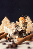 Two ceramic angels in fairy forest Stock Image