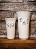 Two ceramic artistic vases Royalty Free Stock Images