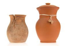 Two ceramic jugs. On isolated background Royalty Free Stock Photography
