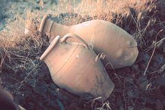 Two ceramic old jugs, Turkey.   Royalty Free Stock Photo