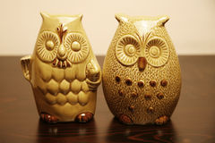 Two ceramic owls Stock Photos