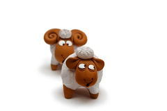 Two ceramic sheep figurine  close up Royalty Free Stock Photos