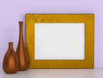 Two ceramic vases and golden frame for picture Royalty Free Stock Images