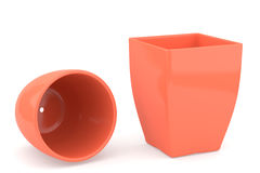 Two ceramics flowerpot, rendered models. Two brown ceramics flowerpot, rendered models Stock Photos