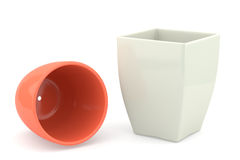 Two ceramics flowerpot, rendered models Stock Images