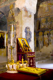 Two ceremonial crowns .orthodox wedding accessories Stock Photography