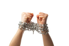 Two chained fists. Isolated on white background Stock Photos