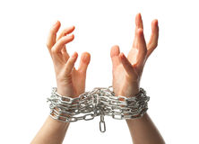 Two chained hands Stock Photo