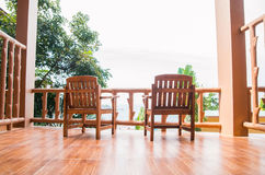 Two chair on a balcony. Resort background. Stock Photography