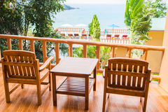 Two chair on a balcony. Resort background. Stock Image