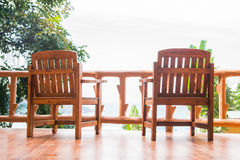 Two chair on the balcony. Spectacular view Royalty Free Stock Photography