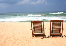 Two Chair at the beach. (with space for text Stock Image