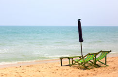 Two chair on the beach with Umbrella Royalty Free Stock Images