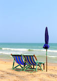 Two chair on the beach with Umbrella Royalty Free Stock Photography