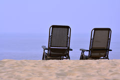 Two chair towards sea Royalty Free Stock Images