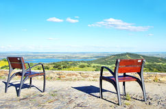 Two chairs in the Alqueva Lake Stock Photography